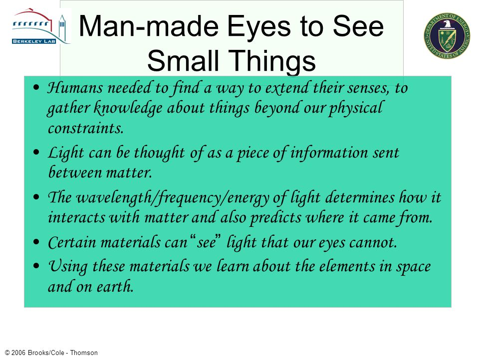 Man-made Eyes to See Small Things