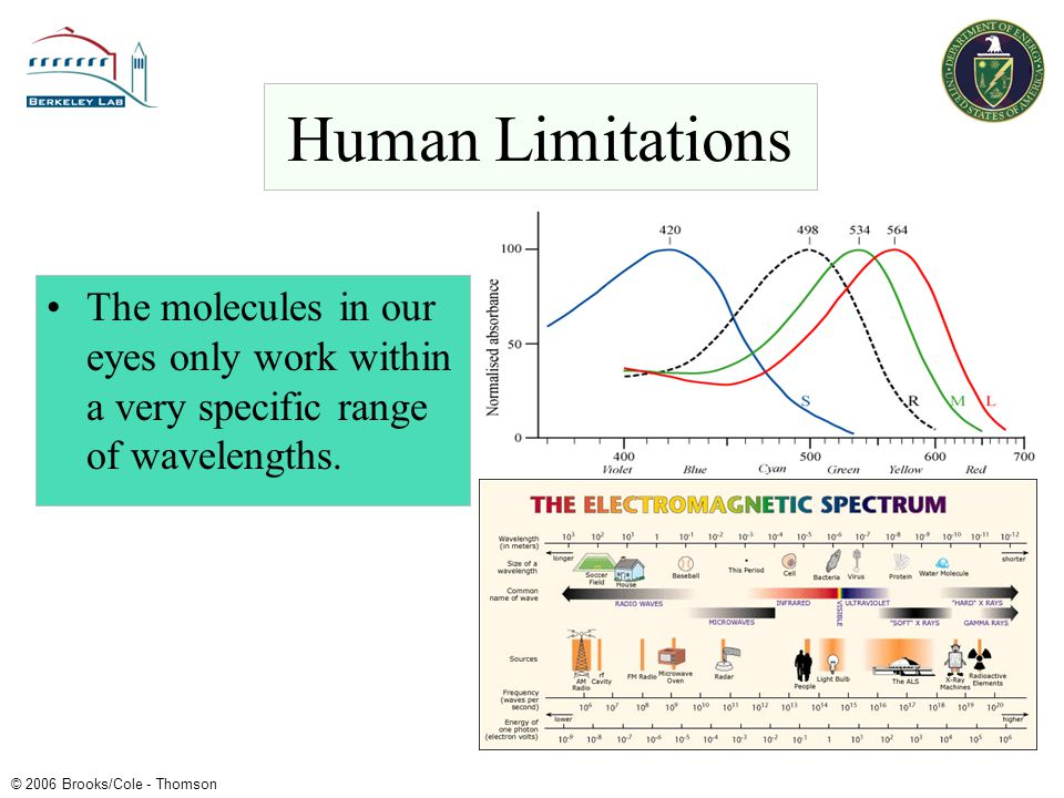 Human Limitations The molecules in our eyes only work within a very specific range of wavelengths.