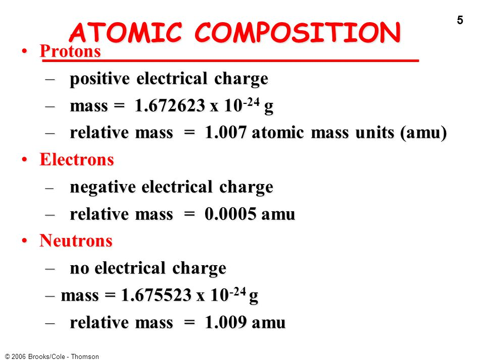 ATOMIC COMPOSITION Protons positive electrical charge
