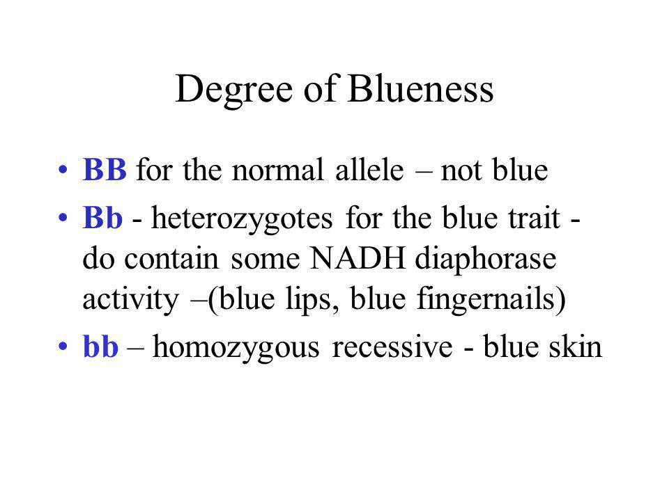 Degree of Blueness BB for the normal allele – not blue