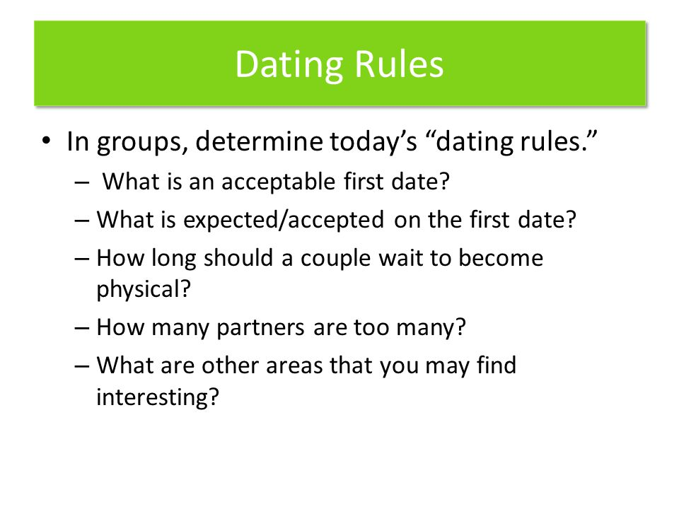 Dating Rules In groups, determine today's dating rules.