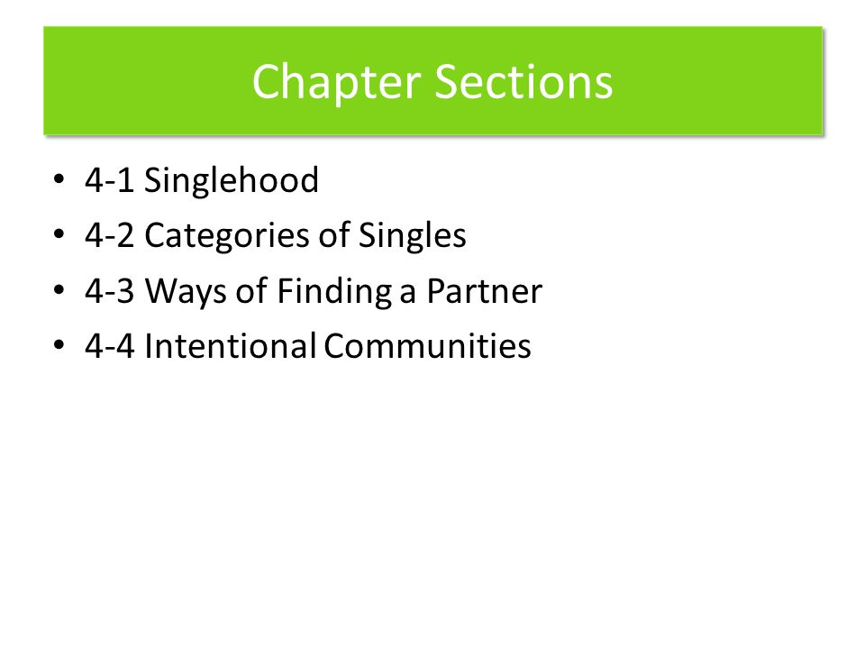 Chapter Sections 4-1 Singlehood 4-2 Categories of Singles