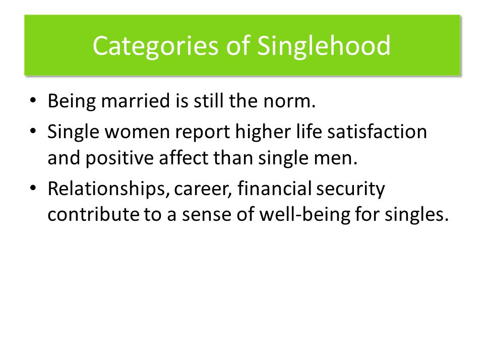 Categories of Singlehood