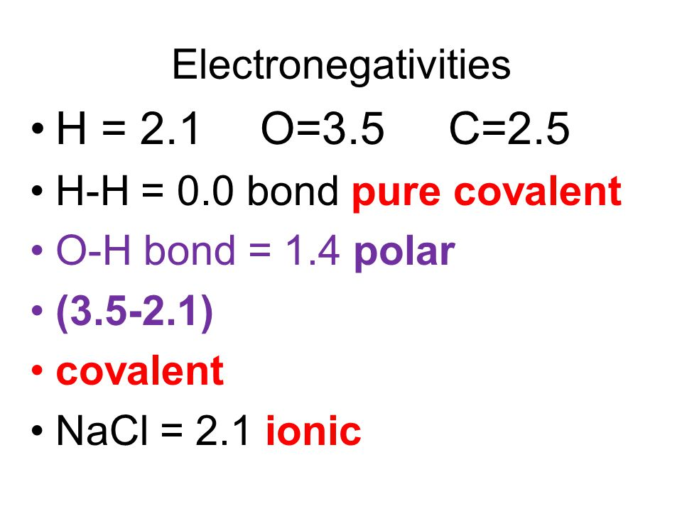 H = 2.1 O=3.5 C=2.5 Electronegativities H-H = 0.0 bond pure covalent