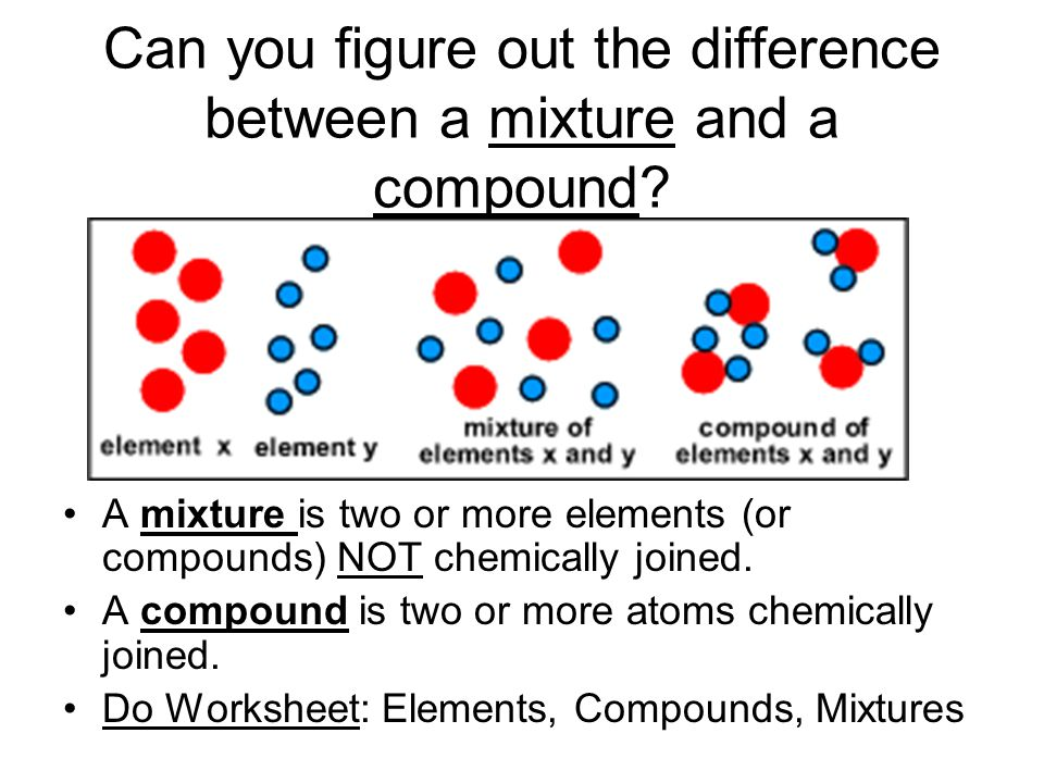 a comparison of mixtures and pure substances Now, it's worth keeping in mind, some people define a pure substance to be a material that consists of one type of building block of matter if this definition is used, only elements and compounds are pure substances, while homogenous mixtures are not considered to be pure substances.