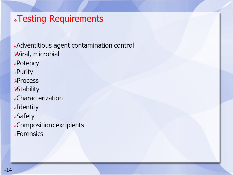 Testing Requirements Adventitious agent contamination control