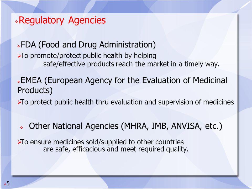 Regulatory Agencies FDA (Food and Drug Administration)