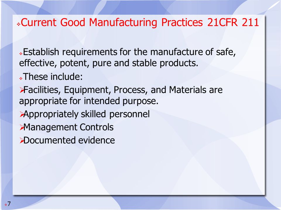 Current Good Manufacturing Practices 21CFR 211