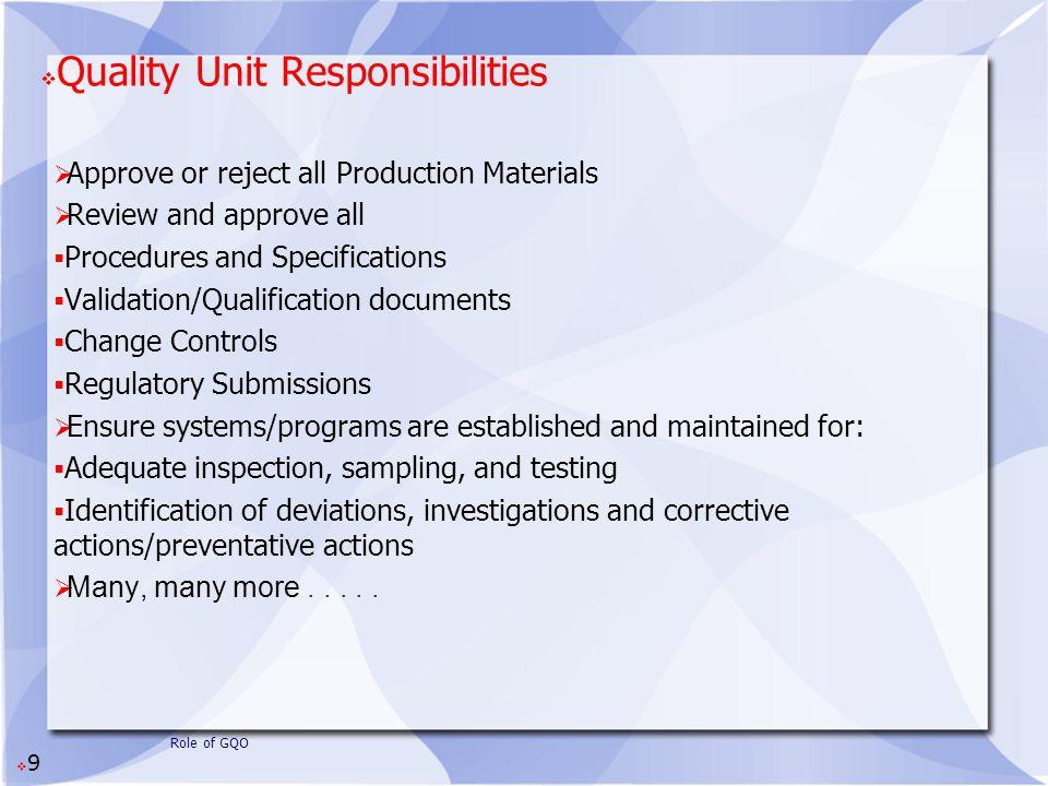 Quality Unit Responsibilities
