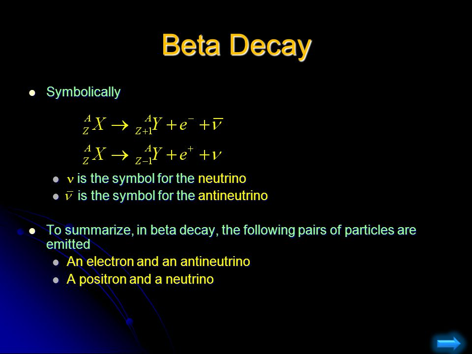 Beta Decay Symbolically  is the symbol for the neutrino