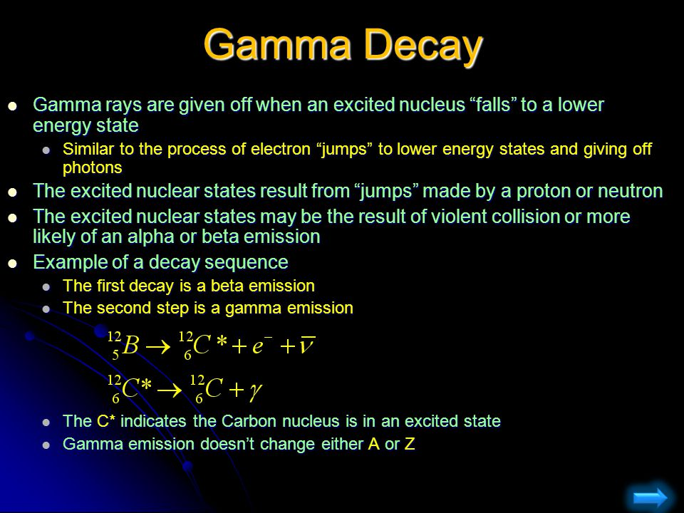 Gamma Decay Gamma rays are given off when an excited nucleus falls to a lower energy state.