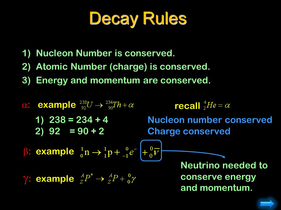 Decay Rules g: example Nucleon Number is conserved.