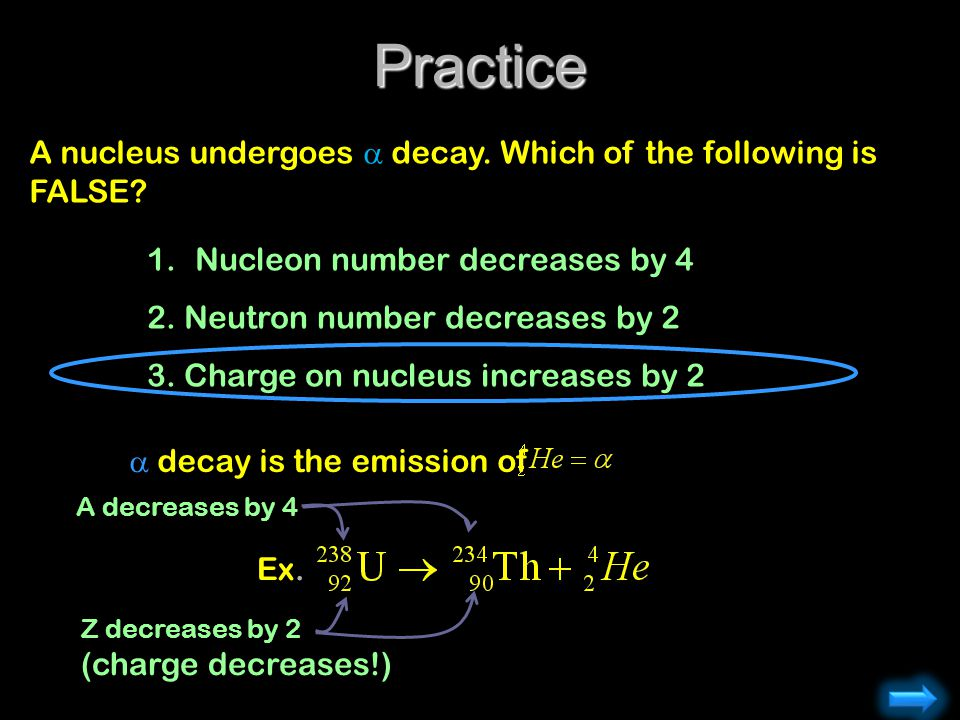 Practice A nucleus undergoes  decay. Which of the following is FALSE