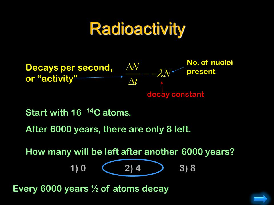 Radioactivity Decays per second, or activity