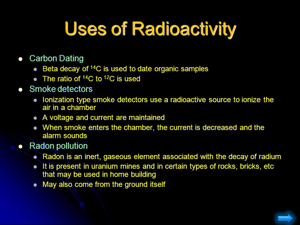 Uses of Radioactivity Carbon Dating Smoke detectors Radon pollution