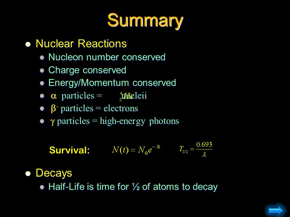 Summary Nuclear Reactions Decays Nucleon number conserved