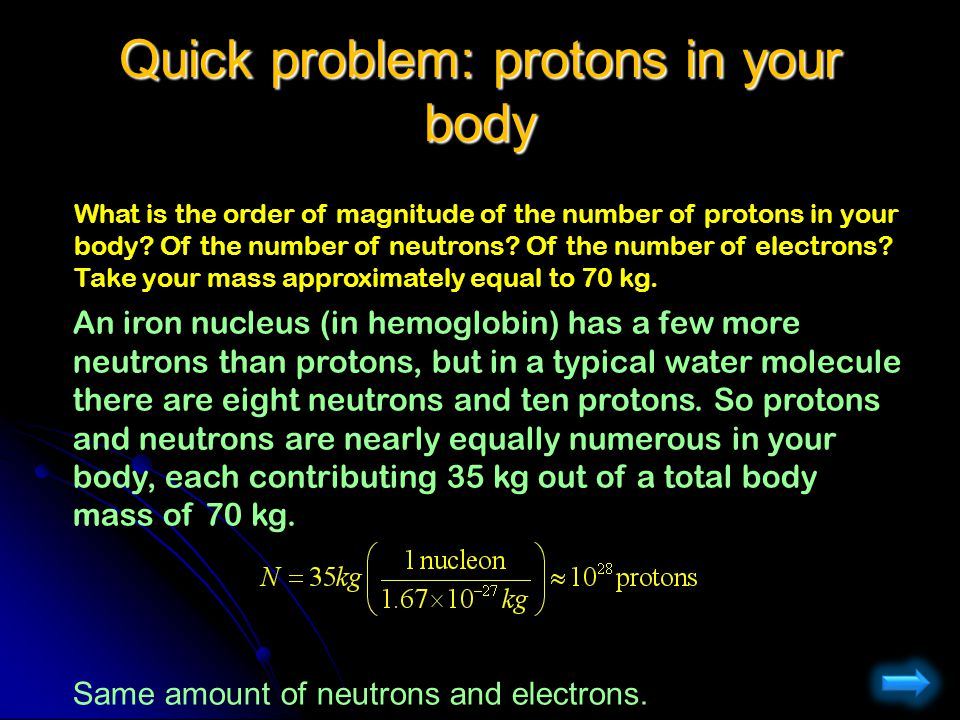 Quick problem: protons in your body
