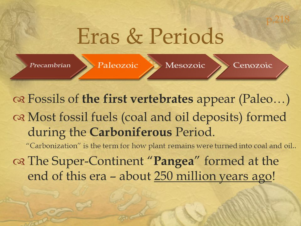 Eras & Periods Fossils of the first vertebrates appear (Paleo…)