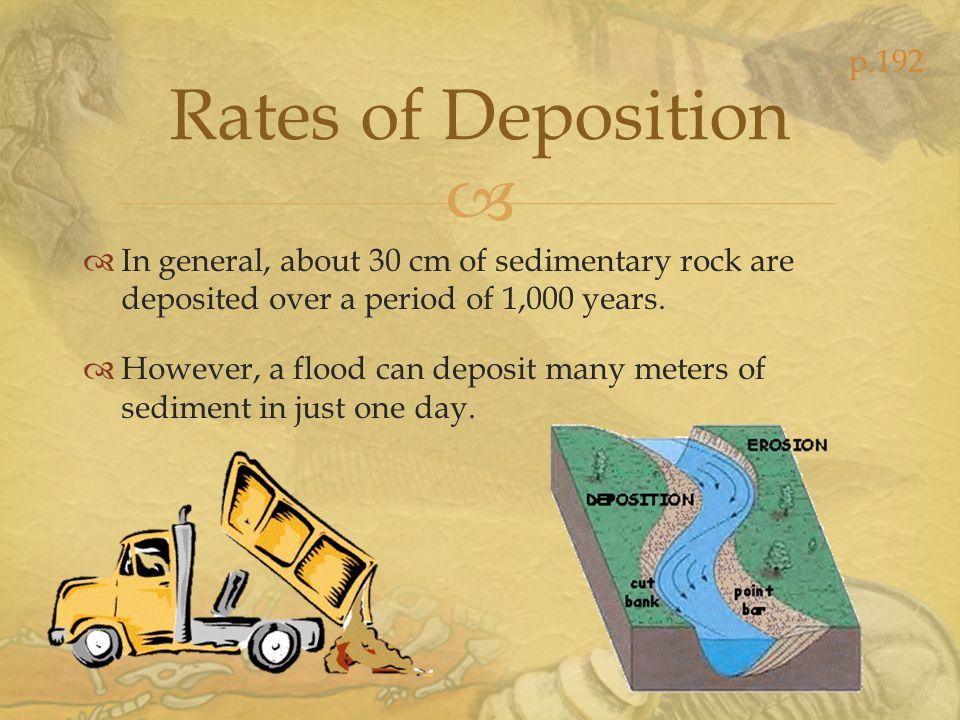 p.192 Rates of Deposition. In general, about 30 cm of sedimentary rock are deposited over a period of 1,000 years.