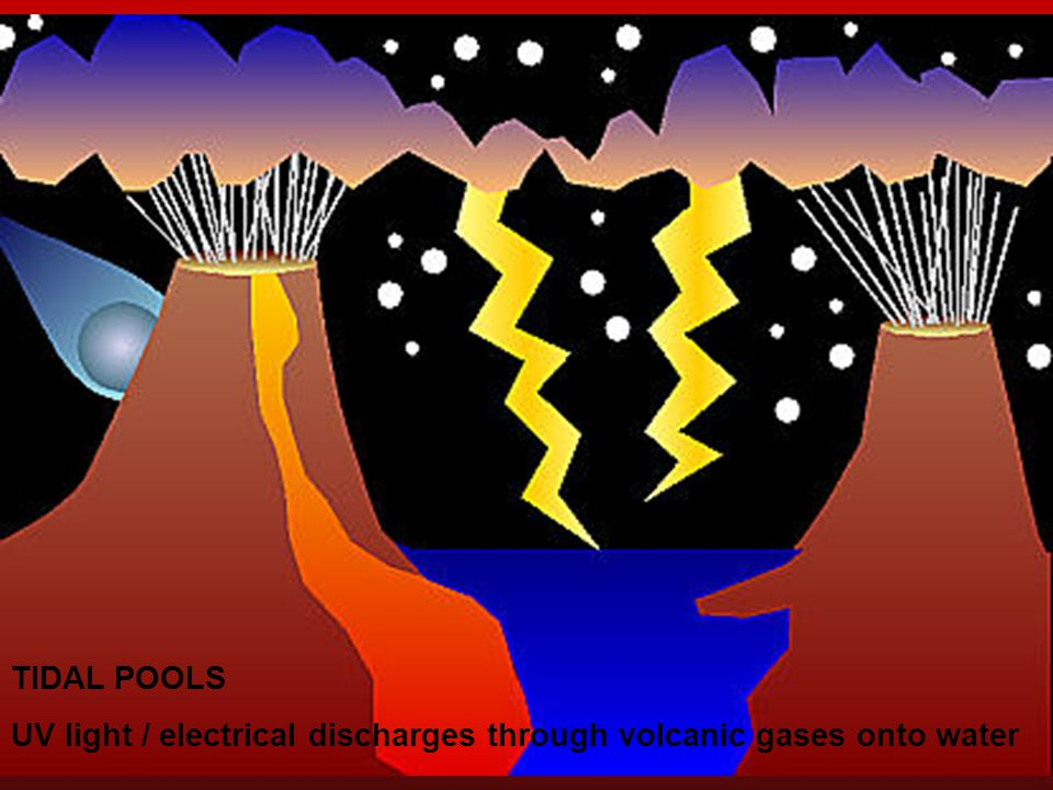 TIDAL POOLS UV light / electrical discharges through volcanic gases onto water