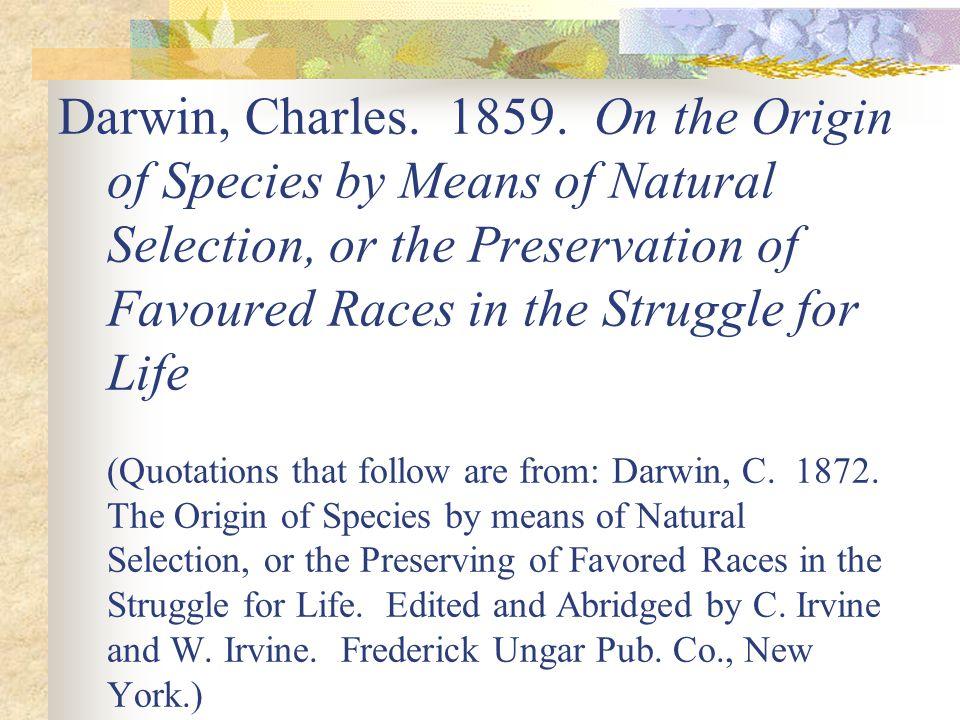 Darwin, Charles. 1859.