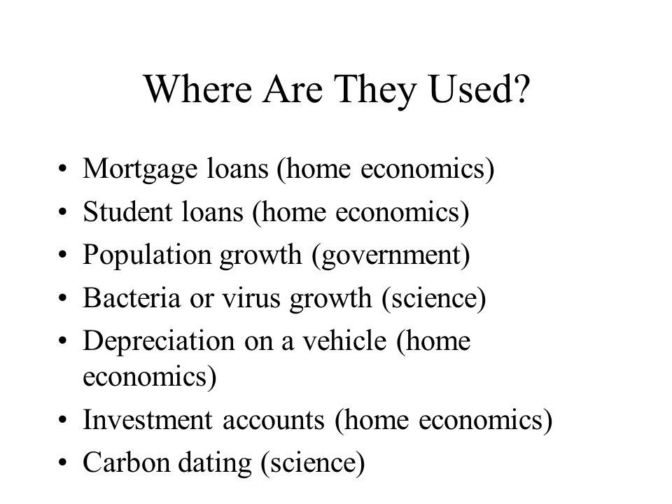 Where Are They Used Mortgage loans (home economics)