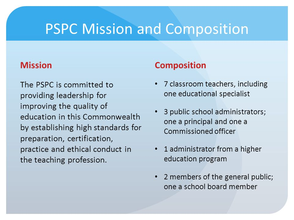 PSPC Mission and Composition
