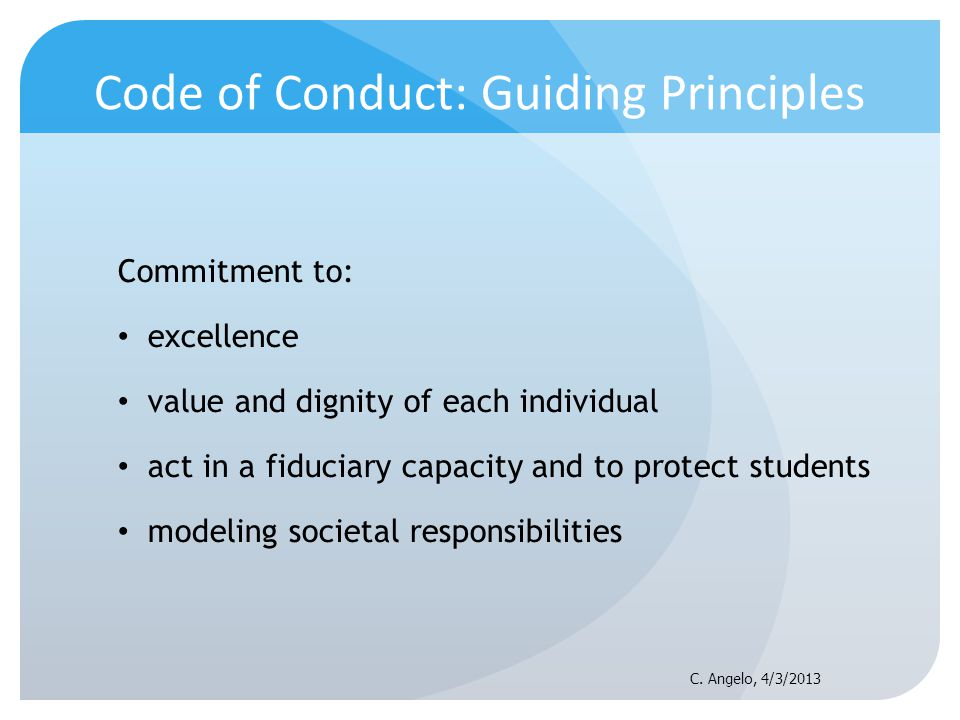 Code of Conduct: Guiding Principles