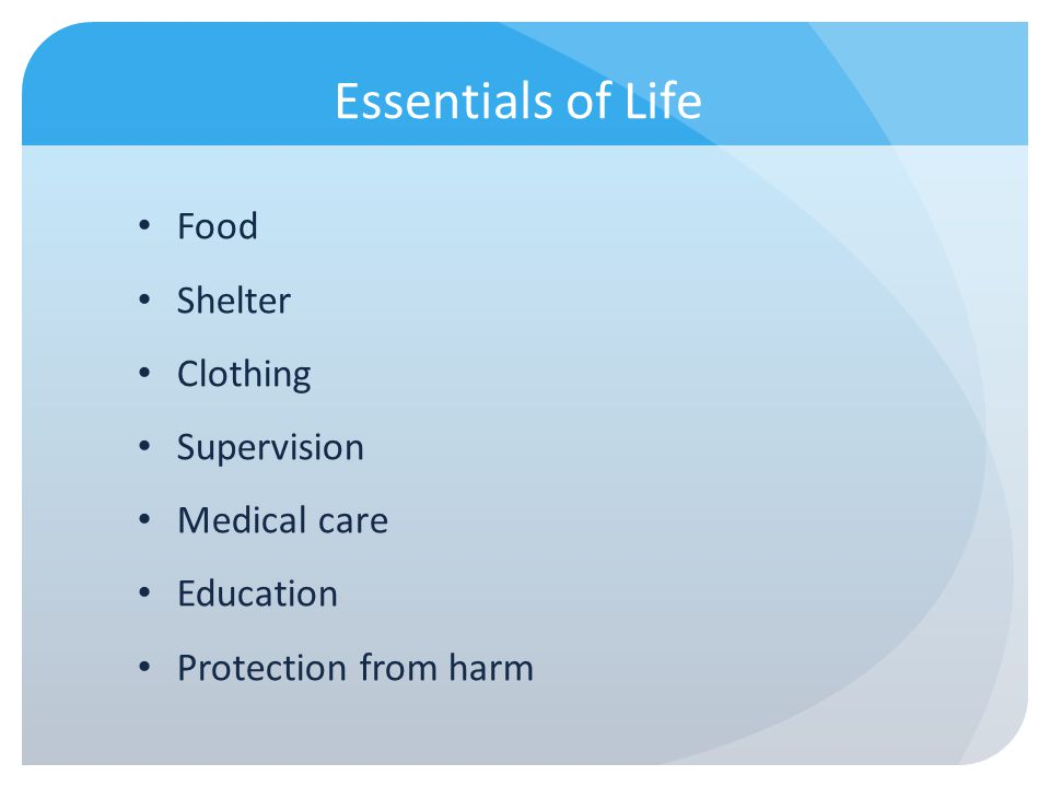 Essentials of Life Food Shelter Clothing Supervision Medical care