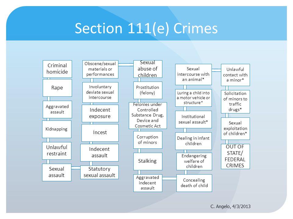 Section 111(e) Crimes Criminal homicide Rape Unlawful restraint