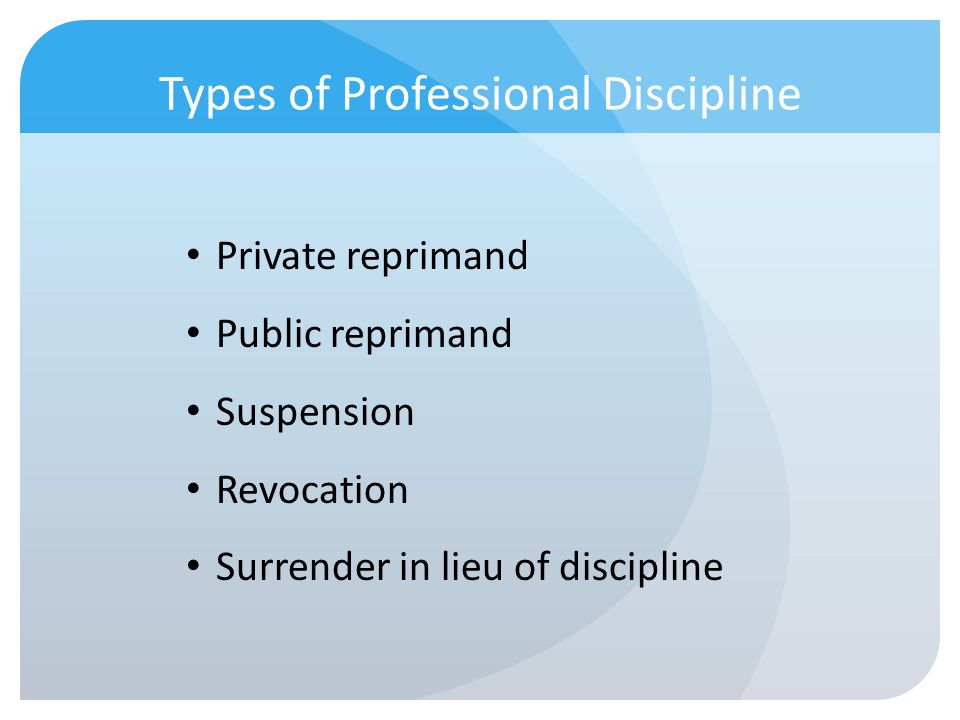 Types of Professional Discipline