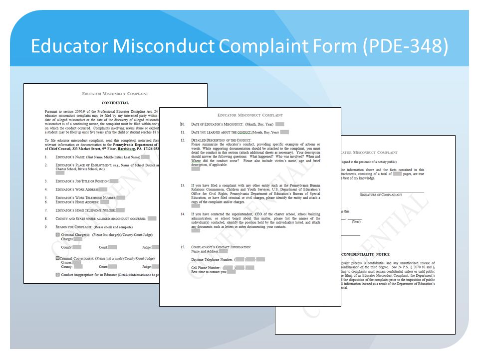Educator Misconduct Complaint Form (PDE-348)