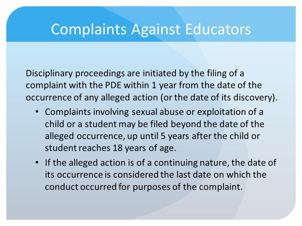 Complaints Against Educators