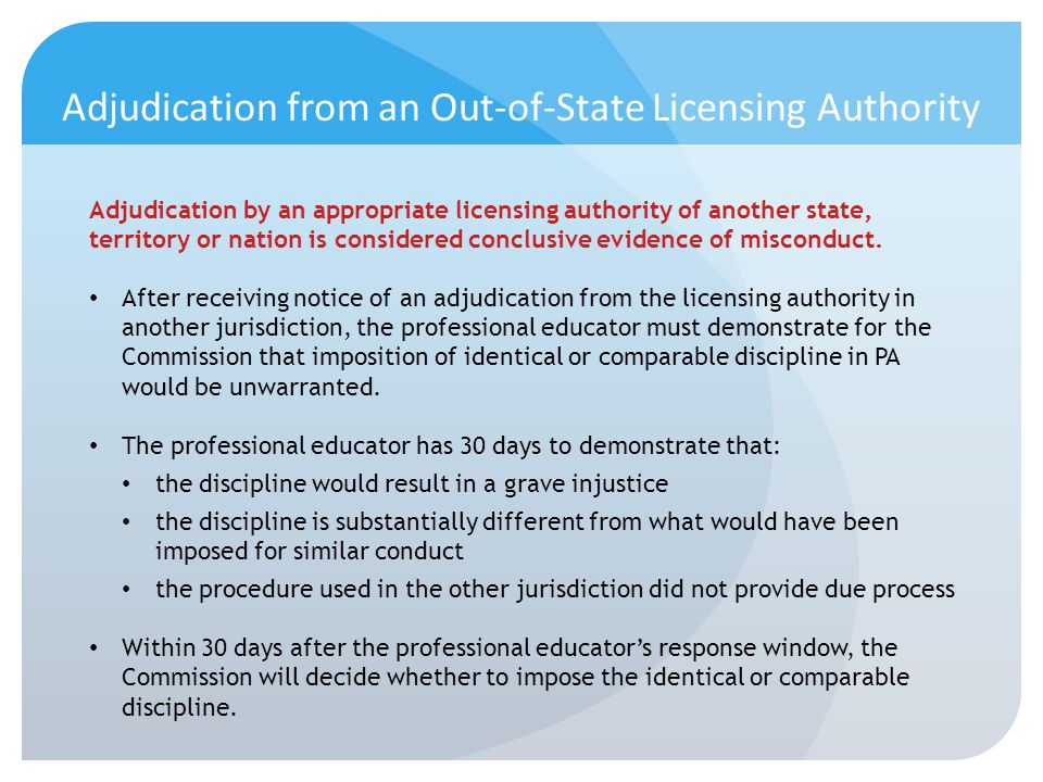 Adjudication from an Out-of-State Licensing Authority