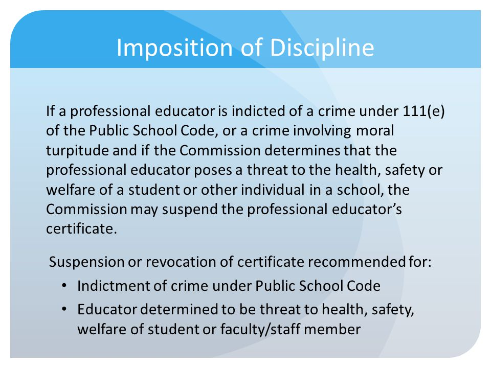 Imposition of Discipline
