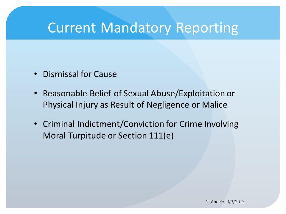 Current Mandatory Reporting