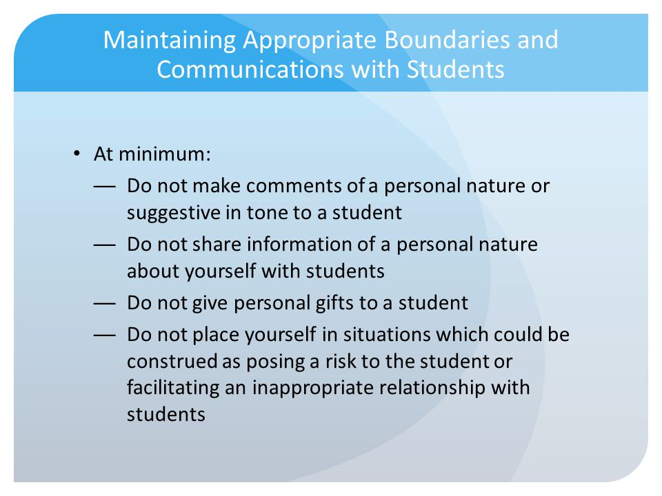 Maintaining Appropriate Boundaries and Communications with Students