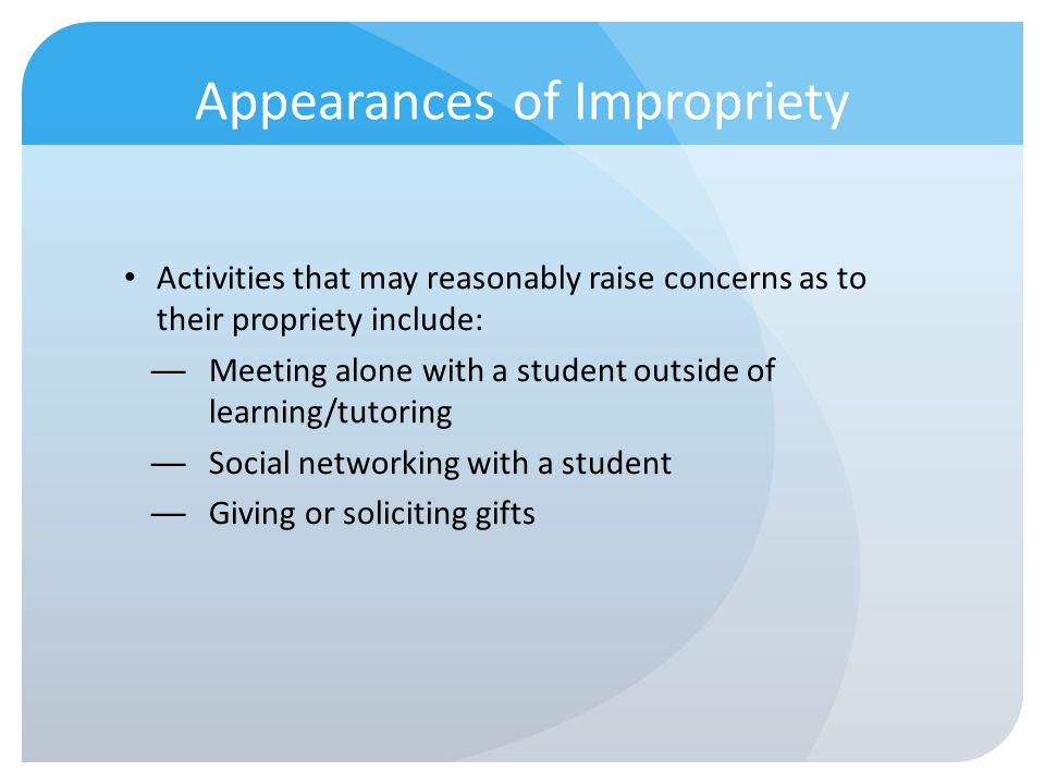 Appearances of Impropriety