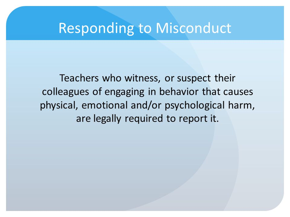 Responding to Misconduct