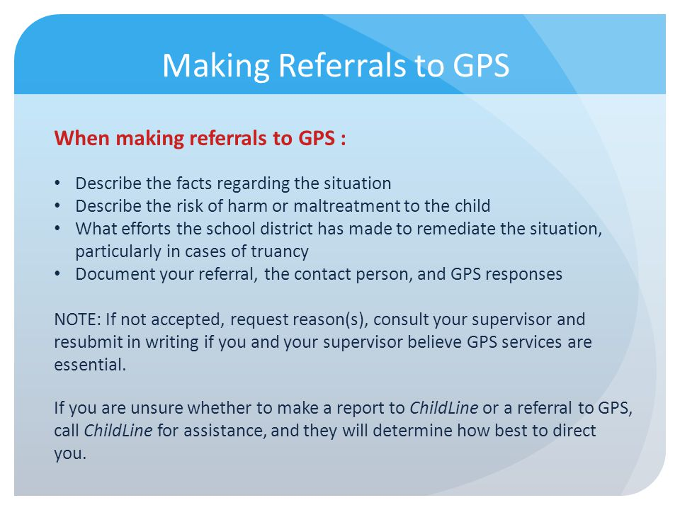 Making Referrals to GPS