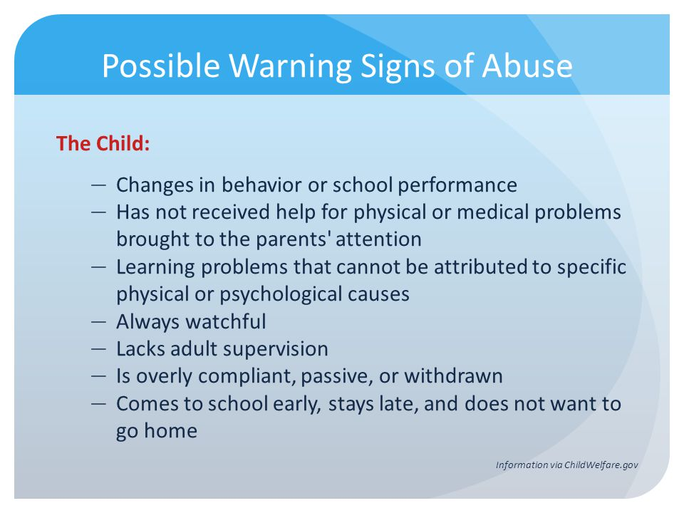 Possible Warning Signs of Abuse
