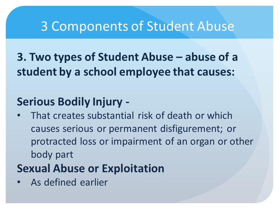 3 Components of Student Abuse