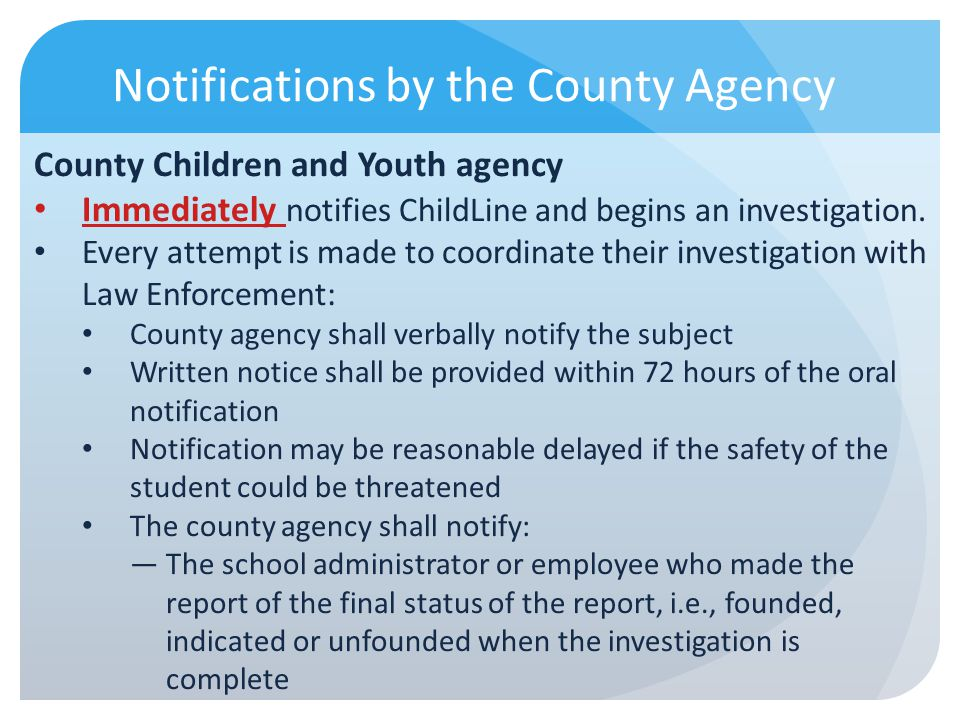 Notifications by the County Agency