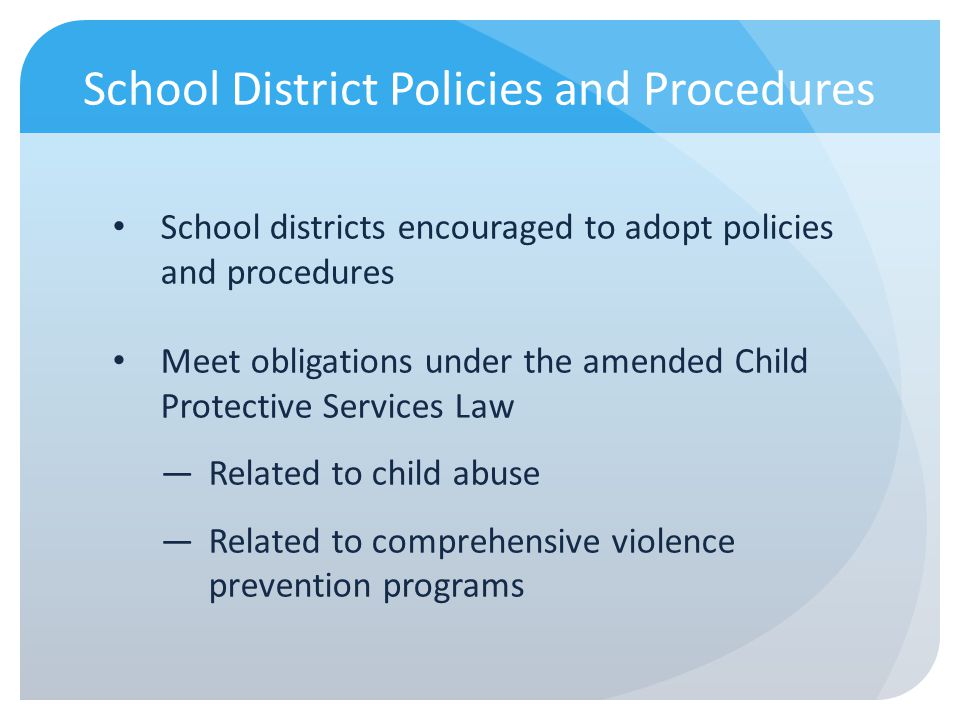 School District Policies and Procedures