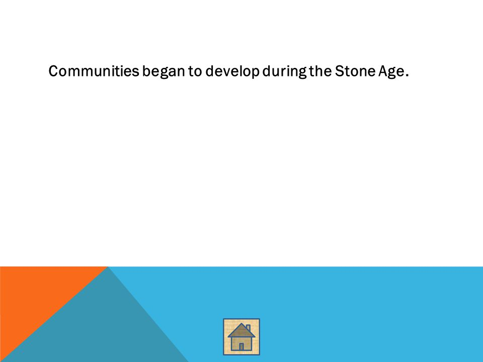 Communities began to develop during the Stone Age.