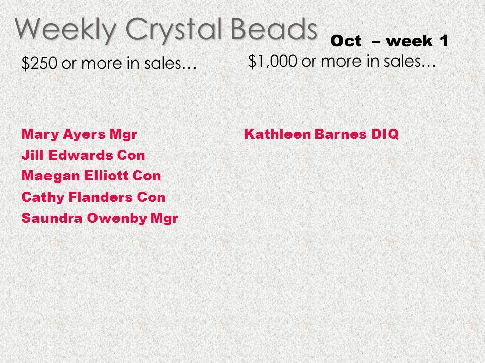 Weekly Crystal Beads Oct – week 1 $1,000 or more in sales…