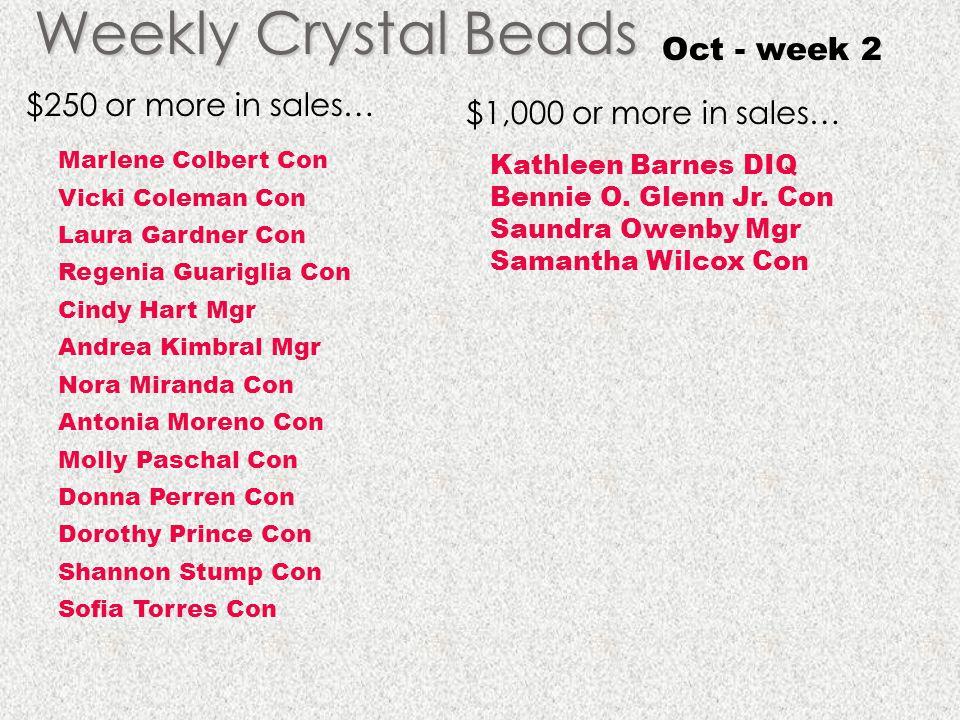 Weekly Crystal Beads Oct - week 2 $250 or more in sales…