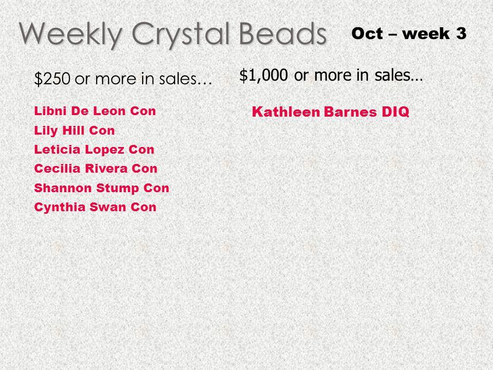 Weekly Crystal Beads Oct – week 3 $1,000 or more in sales…
