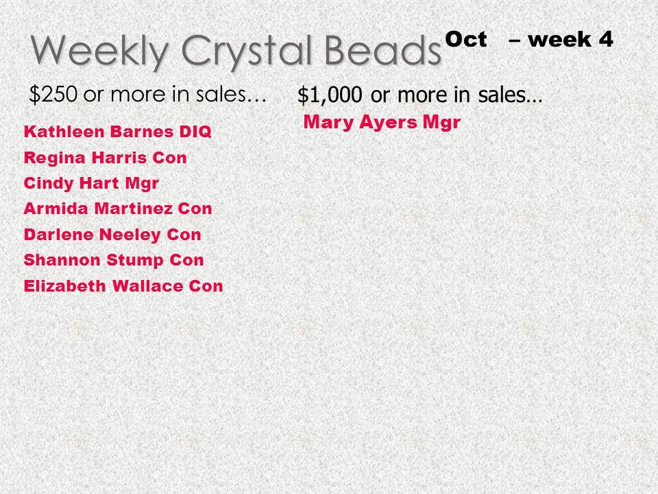 Weekly Crystal Beads Oct – week 4 $250 or more in sales…