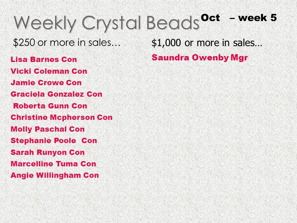 Weekly Crystal Beads Oct – week 5 $250 or more in sales…